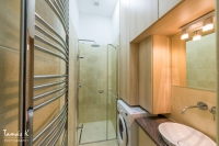 Walk-in shower and washing machine
